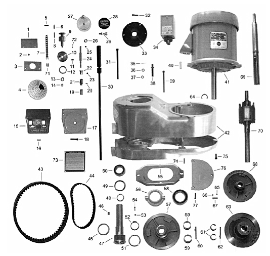 """BRIDGEPORT 2 HP VARIABLE SPEED MOTOR PULLEY ASSEMBLY /""""NEW/"""""""